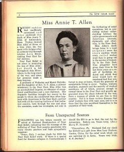 An article about Annie T. Allen and her work at the Near East Relief.