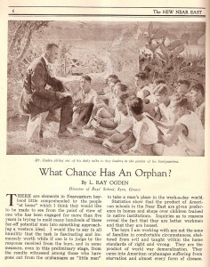 An article describes the chances an orphan has when being exposed to the American education in provided by the Near East Relief schools.