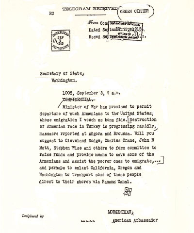 Morgenthau's September 3, 1915 telegram called into existence the committee that would become Near East Relief.