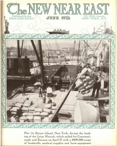 A cover of the New Near East magazine shows the ship that is sent with donated items to refugees in Constantinople.