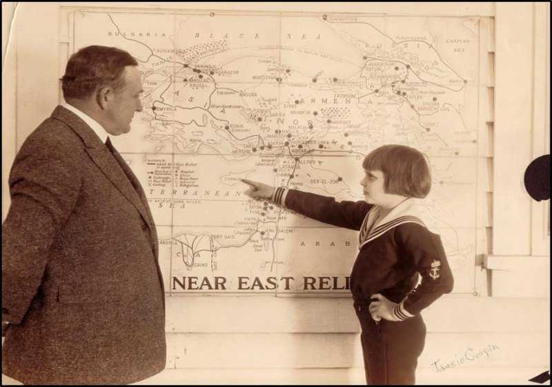 Jackie Coogan and Near East Relief map