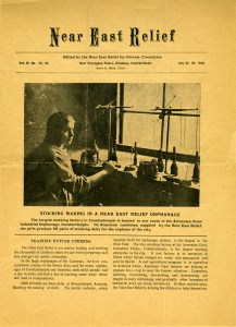 Near East Relief magazine produced for private circulation, July 1922, featuring a young woman making stoockings in the Near East Relief Armenian Girls' Industrial Orphanage in Constantinople