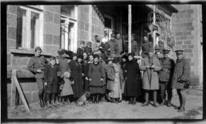 Ernest Yarrow (second from right) standing with a large group of American and Armenian relief workers at the orphanage in Kars prior to the forced evacuation from that area. Yarrow was the director of Near East Relief in the Caucasus region.