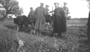 Men in uniform with ox carts