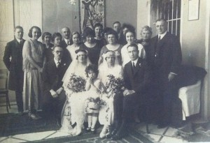 Rev. James H. Nicol (far right) co-officiated the double wedding of Near East Relief workers Anne Frances Sproule to Alfred Bastress and Marion Kerr to Roy King in Beirut in 1922. Detail from a larger wedding photo from the collection of Ellery Flynn.
