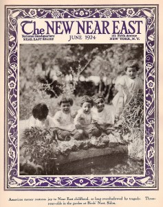 New Near East magazine featuring five children at the Birds' Nest orphanage in Sidon, Syria. The orphanage was operated by Danish missionary Maria Jacobsen on behalf of Near East Relief. The orphanage at Sidon was a very popular subject for the magazine. The Birds' Nest moved to Jubeil in 1928.