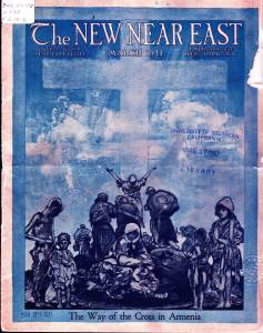 New Near East magazine covering featuring a painting of refugees standing before a large cross. Near East Relief also used this image on the cover of A Million Lives Saved: The Churches of America and the Near East: A Handbook for Pastors in 1923.