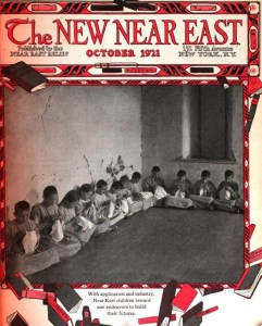 New Near East magazine cover featuring children knitting or sewing. This cover features a playful border of tumbling books, reinforcing Near East Relief's emphasis on education. Cornell University, digitized by Google.