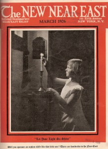 New Near East magazine cover featuring a young girl lighting a candle. This issue advertises Near East Relief's direct sponsorship program, in which donors