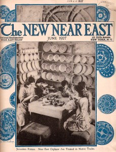 New Near East magazine featuring a photograph of children painting pottery in Jerusalem. This is probably the Dome of the Rock Tiles workshop, where Armenian ceramicist David Ohannessian employed several orphans. Ohannessian and his pupils helped to preserve the art of Kutahya pottery. A colorful border of hand-drawn painted plates complements the photograph.