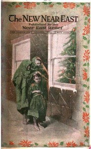 New Near East magazine cover featuring an illustration of children in rags looking in a window at a Christmas tree. Near East Relief relied on holiday donations.   University of Chicago, digitized by Google.