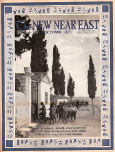 New Near East magazine with a photograph of the entrance to the orphanage at Corinth. After the burning of Smyrna, Near East Relief dramatically expanded its work in Greece. Near East Relief worker Emma Cushman supervised the orphanage at Corinth. This cover features a playful border of dolls and toys.