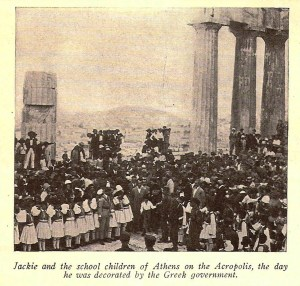 Jackie Coogan and the school children of Athens on the Acropolis, the day he was decorated by the Greek government.