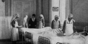 Frances MacQuaide with relief nurses in Corfu