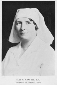 Alice Carr in nursing uniform