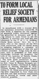 The Evening News article about relief society for Armenians
