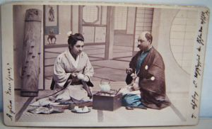 Diana Apcar and her husband in traditional Japanese clothing