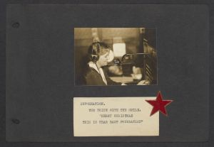 Antoinette Moore telephone operator smiling, the caption reads