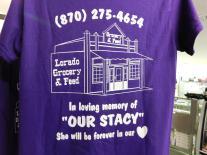 Store shirts honor Stacy's memory. (Stan Morris | NEA Report)