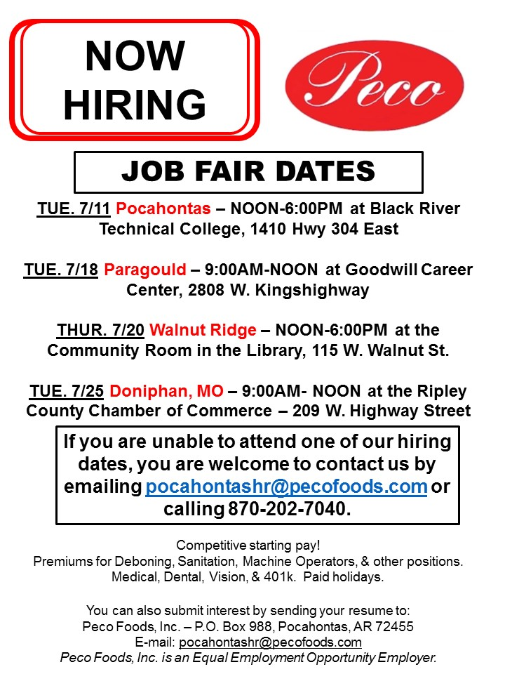 Peco Foods Job Fairs For July – Nea Report