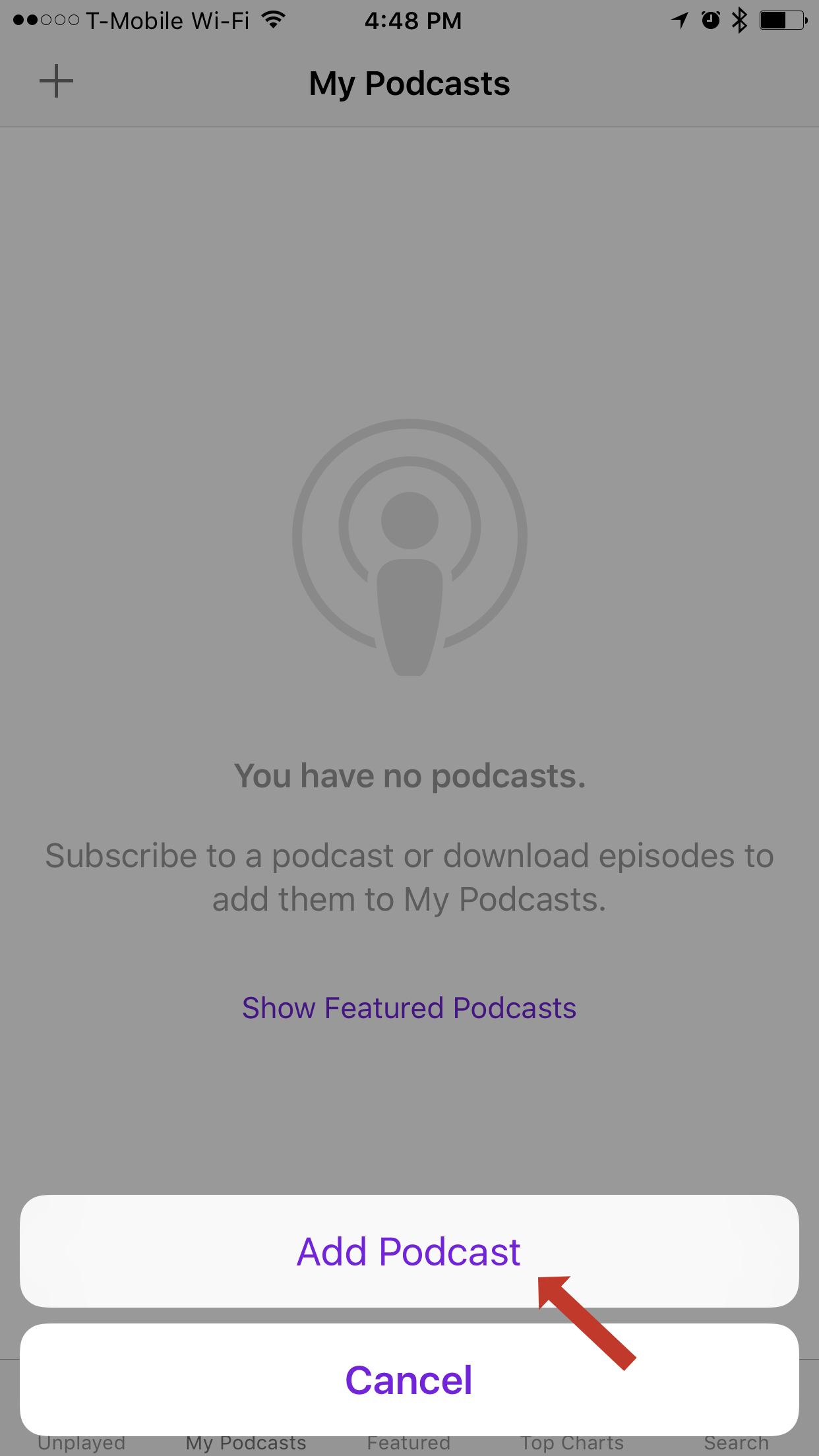 "Step Two: Click the ""Add Podcast"" button"