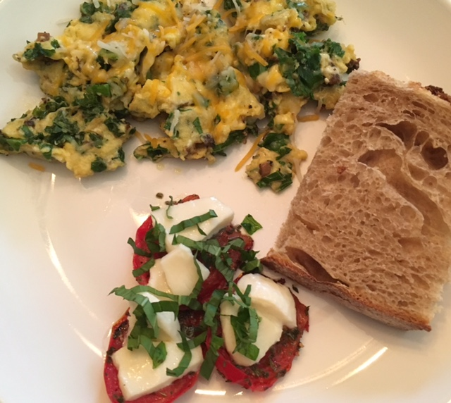 Morel and Kale Egg Scramble and Pan Roasted Tomatoes with Homemade White-Wheat-Rye Bread