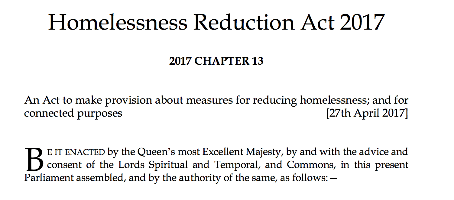 A bluffers guide to the Homeless Reduction Act 2017 - Nearly
