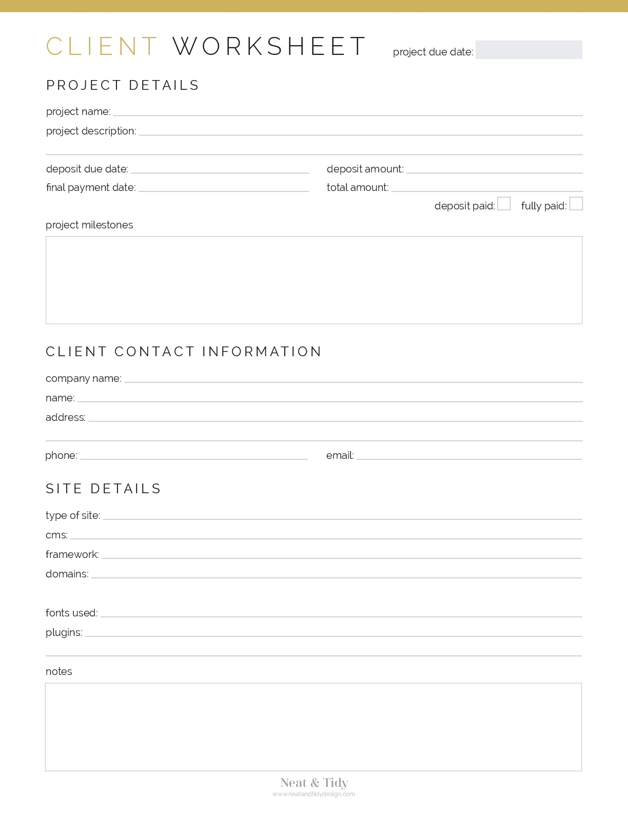 Client Worksheet Web Design