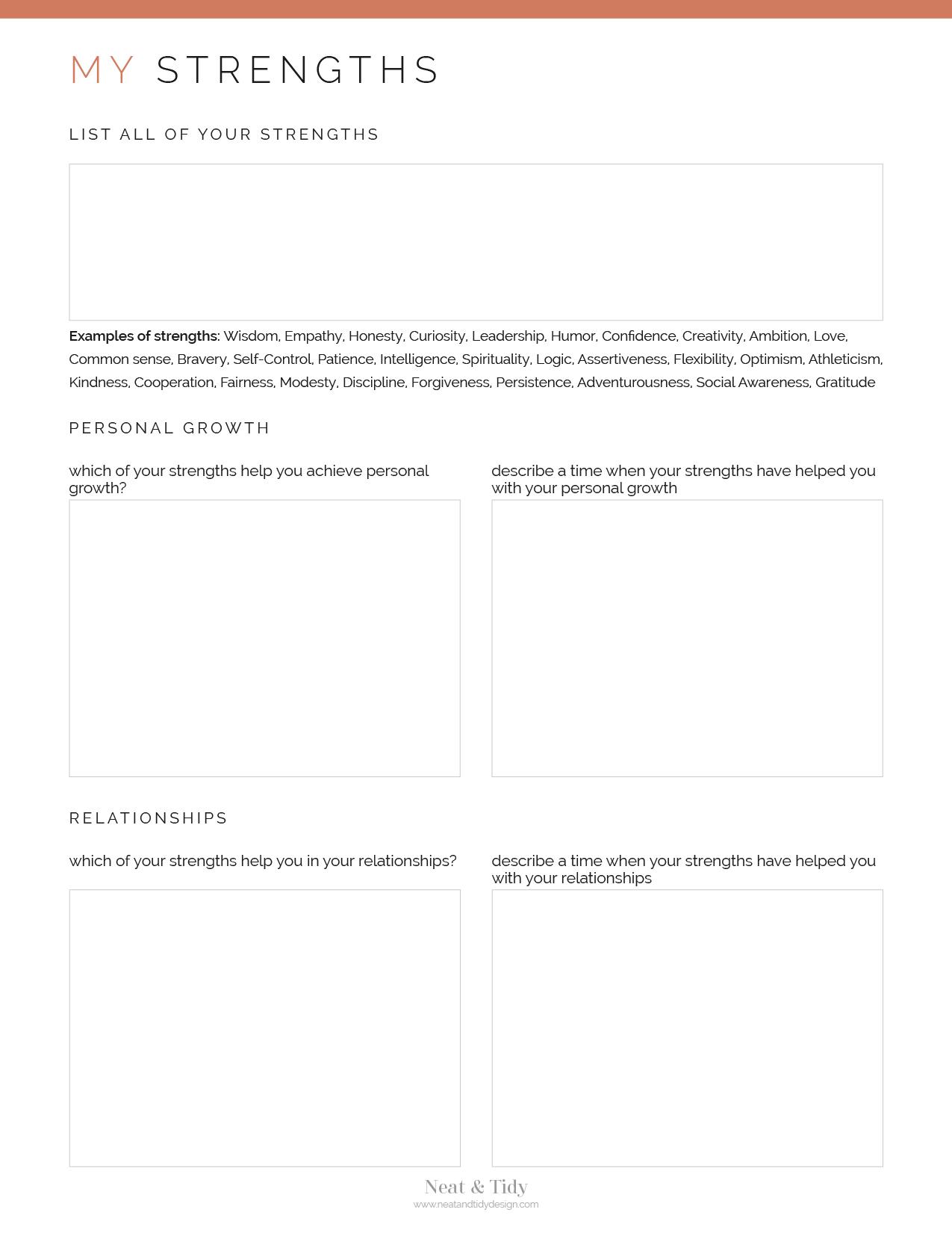 My Strengths Worksheet