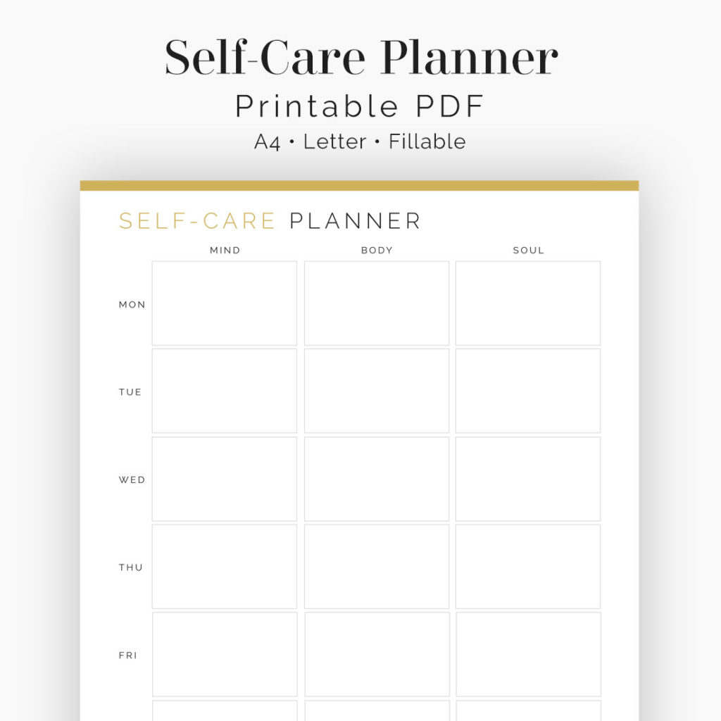 Weekly Self Care Planner