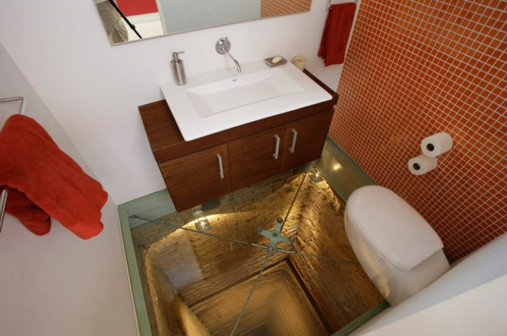 Glass Bathroom Floor Shelves