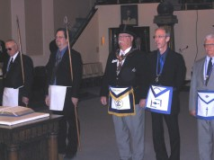 Grand Master Dennis E. Rix is introduced for receiving.