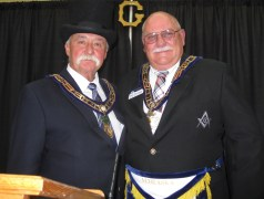 2015-2016 Wyoming Grand Master M.W. Michael Johnson and Nebraska's R.W. Grand Junior Warden Bob Moninger