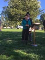 Phil's widow Doris speaks during the dedication.