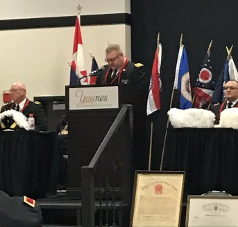 Right Eminent Grand Commander Brent Bennett presides over Grand Commandery conclave on April 8.