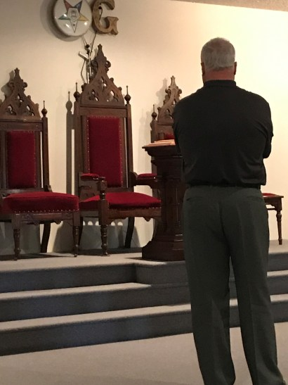 Talk about beautiful chairs! Grand Senior Deacon Carlton covets the wood.
