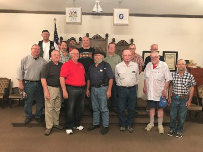 Great turnout at Pawnee City to greet the Grand Master, Grand Junior Warden Stites, Grand Marshal Ferguson and the roadies.