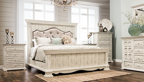 King Padded Bedroom Set Distressed White King Bed Dresser Mirror And Nightstand Chalet