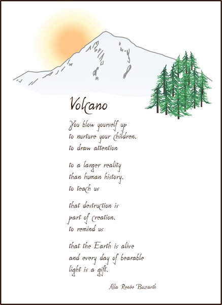 Volcano Poem Full Page Bear Blessings Soul Cards