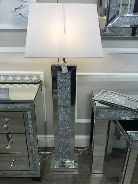 Stunning Crystal Crackle And Mirror Floor Lamp White