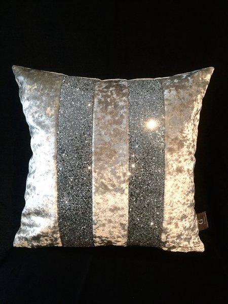 Stunning Silver Velvet Silver Glitter Ava Scatter Cushion