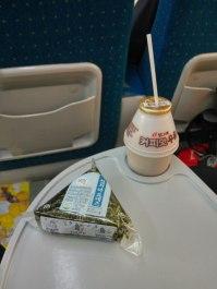 Favourite breakfast, banana milk and onigiri tuna. InsyaAllah Halal