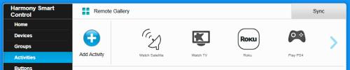 Harmony remote activities screen