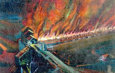 Verostko_Coke ovens burning at night