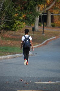 young student walking