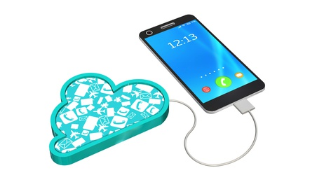smartphone connected with a cloud - cloud computing concept