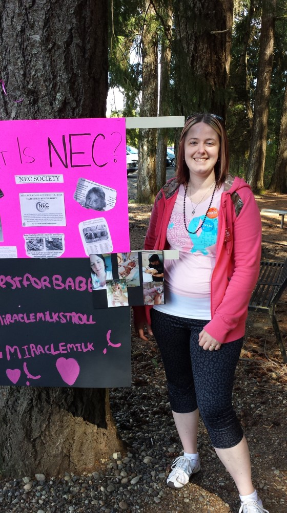 NEC Society Leadership Committee member Katie Woolsey talking about NEC at a Miracle Milk Stroll in Washington state.