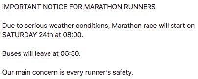 Maratondistansen ble flyttet fra fredag til lørdag ?: Arrangøren