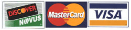 We gladly accept MasterCard, Visa, Discover, Checks and Money Orders