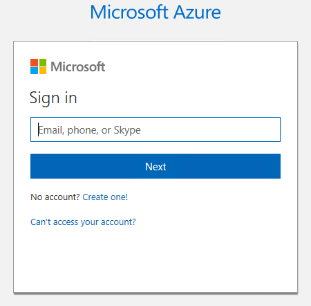 Azure subscription login